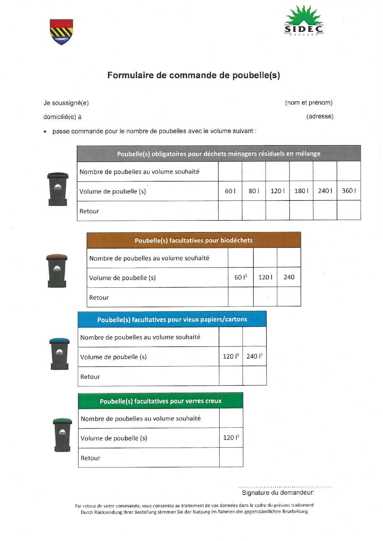 Formulaire commande poubelles - retour