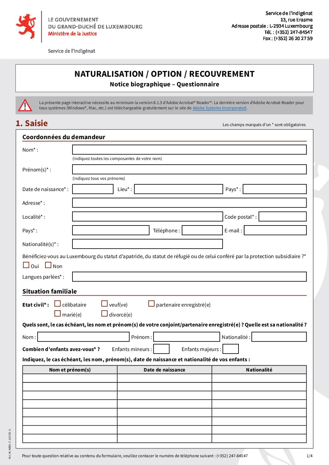 Notice biographique - Questionnaire pour la naturalisation, la déclaration d'option ou de recouvrement