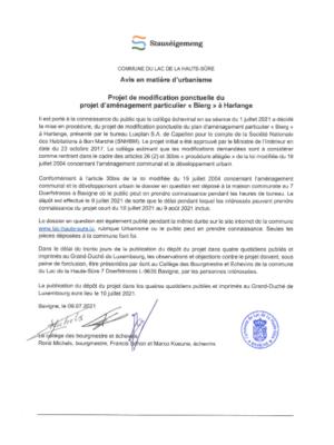 """Projet de modification ponctuelle du PAP """"Bierg"""" à Harlange"""