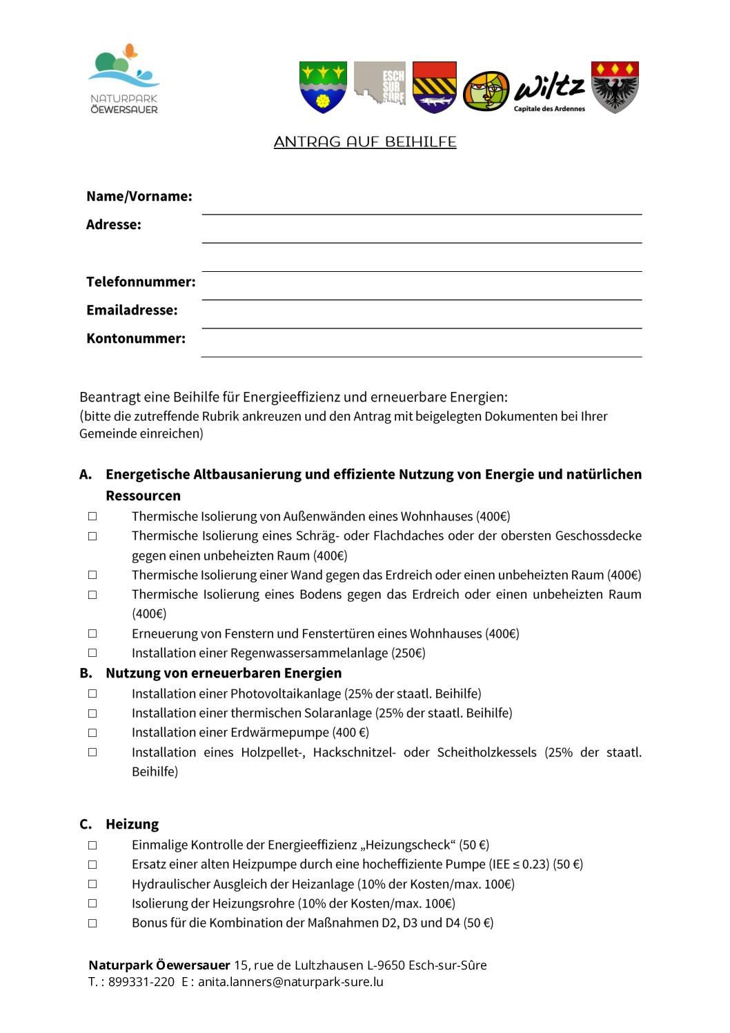 Formulaire : Antrag auf Beihilfe 2021