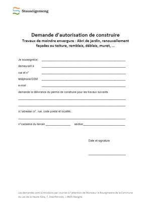 Formulaire - Demande d'autorisation de construire : Moindre envergure