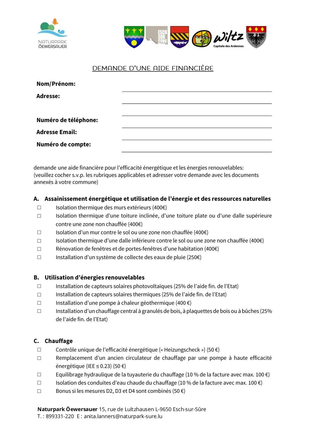 Formulaire : Demande d'une aide financière 2021 FR